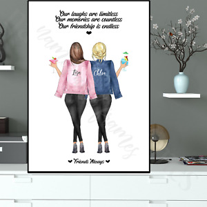 Personalised Best Friends Birthday Print Gift Mum Daughter Sister Son Auntie A4