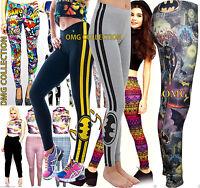Womens New Ladies Comic Superman Batman Super Hero Leggings Pants Size / 8-26
