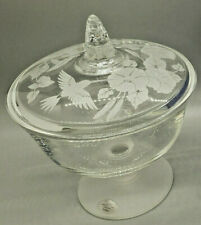 NEW Avon Lead Crystal Hummingbird Covered Candy Dish Rare Frosted Glass Austria