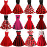 Womens Red Retro Rockabilly Dress 50s Swing Pinup Dresses Cocktail Evening Party