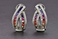 1.60 Ct Multi Color Rainbow Sapphire & Diamond Earrings 14k White Gold Over