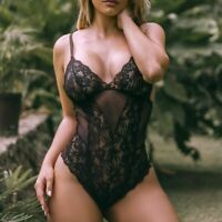 Women Plus Size Sexy Cute Lingerie Lace Teddy Bodysuit Deep V jumpsuits Bodysuit