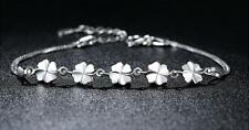 925 Sterling Silver 5 Flower 4-Clover Women's Charm Double Chain Bangle Bracelet