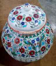 """12"""" White Marble Pot Rare Hakik Stone Floral Work Inlay Decor Marquetry Gifts"""