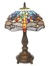 "Yellow Dragonfly Tiffany Table Lamp 12"" WIDE  ( STUNNING QUALITY )"