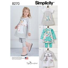 SIMPLICITY SEWING PATTERN TODDLERS' KNIT DRESS TUNIC & LEGGINGS 1/2 - 4 8270