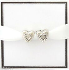 2x Silver Shaped Heart Beads for European Charm Bracelets