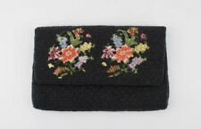 Vtg Walborg Hand Beaded Clutch Floral Embroidered Oriental Evening Bag