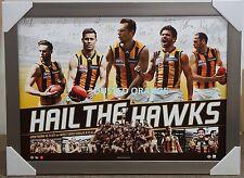 Hawthorn Hawks 2015 AFL Premiers 'hail The Hawks' Official Signed Print Framed
