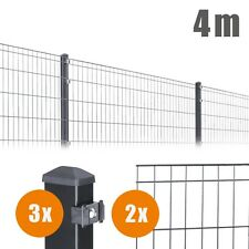 4 m Komplett Set 1 m Hoch Doppelstabmatten Draht Einzelstabmatten Zaun ANTHRAZIT