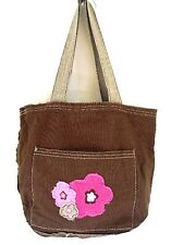 Thirty-One Mini Retro Metro Bag Brown w/ Frayed Pink Flowers Retired 31 Gifts
