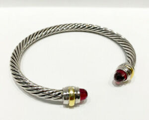 David Yurman Classic Cable Sterling Silver 14K Gold 5mm Bracelet with Garnet