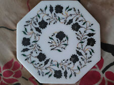 """18"""" white marble table top dining coffee room decor inlay malachite b18"""
