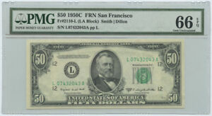 1950C $50 FRN Federal Reserve Note San Francisco PMG Gem UNC 66 EPQ