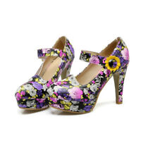 Women Mary Jane High Heels Ankle Buckle Floral Party Pumps Casual Platform Shoes