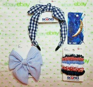 Scunci Headband Patriotic Set Moon Starry Night Clip Scrunchies & Bow Clip