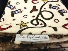 Minky Couture mid-weight pattern Western, Cowboy, Infant Blanket 36 X 30