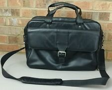 Kenneth Cole Reaction Laptop Messenger Bag Black Leather Briefcase
