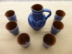 Saftkrug und Becher Set Keramik Steingut blau weiße Punkte Strehla Neu OVP