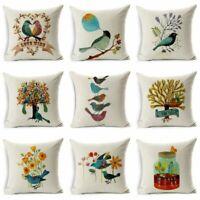 Home Cotton Bird&Tree Case  Cushion Pillow Decor Throw Linen Decor Cover Sofa
