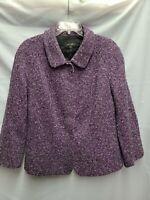 Escada Blazer Jacket Womens US14 EUR46 Wool Leather Tweed Purple Classic