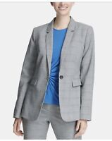 DKNY Womens Plaid Suit Seperates One-Button Blazer Gray 8