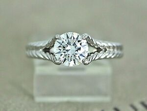 $13,750 David Yurman Platinum GIA 1.01ct SI1 Diamond Chatelaine Engagement Ring