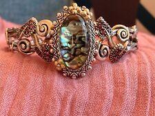 Barbara Bixby Abalone Doublet,Brizillian Garnet Sterling Silver,18K Cuff Bracele