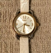 Women's Timex Watch - Gold/Silver Tone w/White Leather Band / Large Numbers