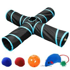 Pet Cat Tunnel 4 Way Kitten Training Toy Rabbit Play Tube With Crinkle Toys