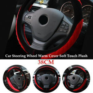 38CM Winter Car SUV Steering Wheel Warm Cover Soft Touch Rubber Plush Grip