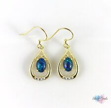 Genuine Australian Gold Hook Opal Earrings 7x5mm 925 Sterling Silver Drop Dangle