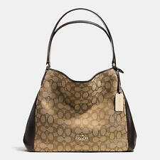 Coach Edie 31 Shoulder Bag in Signature Jacquard & Leather Khaki / Brown 36466