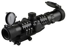 "SNIPER Tactical Scope 1-4X28 5"" Eye Relief Cantilever Mt Etched Chevron Glass"