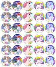 X 30 Unicorno Cavallo decorazioni per cupcake wafer commestibile carta