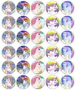 30x Unicorn Horse Cupcake Toppers Edible Wafer Paper Fairy Cake Toppers