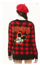 NEW!!  Mickey Mouse Checkered Cardigan Sweater Jacket. size  SMALL