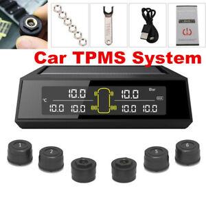 Solar Wireless Car TPMS Tire Tyre Pressure Monitor System w/6 Sensor &Wrench