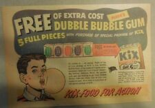 "Kix Cereal Ad: ""Fleer Double Bubble Gum"" Prize from 1950's 7 x 10 inches"