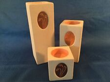 PARTYLITE sandstone natural look embossed copper tea lite candle holders stagger