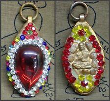 Somdej Toh Pendant Naga Eye Red Jewelry Amulet Thai Buddha glass Gem Stone Lucky