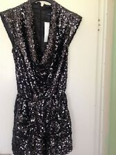 Women's black heavily embellished cowl neck playsuit size 8 French connection