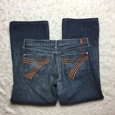 7 For All Mankind Size 31 X 27 Hemmed Dojo Jeans Flare Orange Medium Wash S5