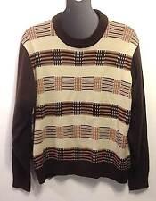 Vintage Men's Attitude Brown Striped Sweater  - Size Large