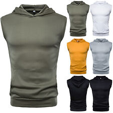 Men Gym Sport Sleeveless Hooded Vest Tops Workout Muscle T-Shirt Casual Tank Tee