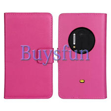 Bfun Hot Pink Genuine Real Leather Slot Wallet Case Cover For Nokia Lumia 1020