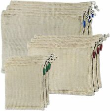 Certified Organic Cotton Mesh Reusable Produce Bags with Tare Weight on...