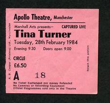 1984 Tina Turner Concert Ticket Stub Apollo Theatre Manchester Uk Private Dancer