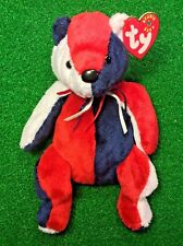 TY Beanie Baby Patriot The Bear Flag On Right Foot USA - MWMT - Free Shipping