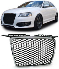 DEBADGED BLACK HONEY COMB WEB RS3 LOOK GRILL + CHROME SURROUND AUDI A3 8P 05 -08